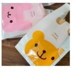 ถุงหูหิ้ว รูปหมี สีชมพู (100 ใบ/แพ็ค) size: 15+10*28 cm.