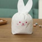 ถุงเบเกอรี่ ถุงขนมบิสกิต ถุงหูกระต่าย สีชมพู 100 ใบ/ห่อ (Size : 13.5*22+6 cm.)