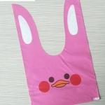 ถุงหูกระต่าย ถุงเบเกอรี่ ถุงขนมบิสกิต ถุงหูกระต่าย รูปเป็ดสีชมพู 100 ใบ/ห่อ (Size : 13.5*22+6 cm.)