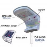 โคมไฟโซล่าเซลล์ ติดผนัง 28 led + Motion sensor กระตุกเชือก ตัวใหญ่