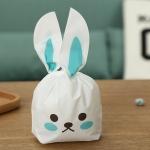 ถุงเบเกอรี่ ถุงขนมบิสกิต ถุงหูกระต่ายสีเขียว 100 ใบ/ห่อ (Size : 13.5*22+6 cm.)