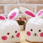 ถุงหูกระต่าย ถุงเบเกอรี่ ถุงขนมบิสกิต ถุงหูกระต่ายสีชมพู 100 ใบ/ห่อ (Size : 13.5*22+6 cm.)