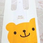 ถุงหูหิ้ว รูปหมี สีเหลือง (100 ใบ/แพ็ค) Size : 18+10*35 cm.
