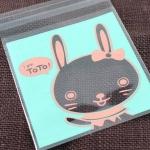 ถุงเบเกอรี่ ถุงขนม แบบมีเทปกาว กระต่าย 100 ใบ/ห่อ (10*10+3 cm.)