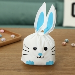 ถุงหูกระต่าย ถุงเบเกอรี่ ถุงขนมบิสกิต แมวสีฟ้า 100 ใบ/ห่อ (Size : 13.5*22+6 cm.)