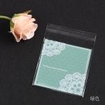 ถุงเบเกอรี่ ถุงขนม แบบมีเทปกาว สีเขียว 100 ใบ/ห่อ (10*10+3 cm.)