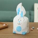 ถุงหูกระต่าย ถุงเบเกอรี่ ถุงขนมบิสกิต หมีสีฟ้า 100 ใบ/ห่อ (Size : 13.5*22+6 cm.)