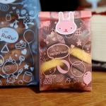 ถุงเบเกอรี่ ถุงขนมปัง แบบพับข้างลายแมว TOTO สีชมพู 100 ใบ/ห่อ (Size : 15*7+3 cm)