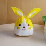 ถุงเบเกอรี่ ถุงขนมบิสกิต กระต่ายน้อยน่ารัก สีเหลือง 100 ใบ/ห่อ (Size : 13.5*22+6 cm.)