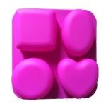 พิมพ์ซิลิโคน พิมพ์สบู่ รูปไข่ หัวใจ 4 ช่อง (น้ำหนักสบู่ : 100G-120G.)
