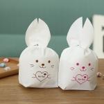 ถุงเบเกอรี่ ถุงขนมบิสกิต กระต่ายน้อยน่ารัก สีชมพู 100 ใบ/ห่อ (Size : 13.5*22+6 cm.)