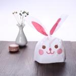 ถุงหูกระต่าย ถุงเบเกอรี่ ถุงขนมบิสกิต กระต่ายน้อยน่ารัก สีชมพู 100 ใบ/ห่อ (Size : 13.5*22+6 cm.)