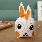 ถุงเบเกอรี่ ถุงขนมบิสกิต ถุงหูกระต่ายสีส้ม 100 ใบ/ห่อ (Size : 13.5*22+6 cm.)