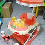 รถหัดเดิน+โยกเยก ลายลิงถือลูกบอล สีส้ม