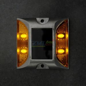 ไฟหมุดถนนโซล่าเซลล์ 4 LED รุ่น เเบน (เเสง : เหลืองกระพริบ)