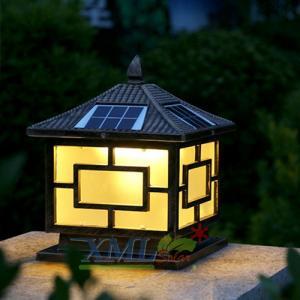 โคมไฟหัวเสาโซล่าเซลล์ + AC ทรง Japanese Style (สีดำ) (เเสง : เหลืองวอมไวท์)