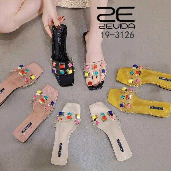 """รูปภาพสินค้า รองเท้าสวม สายใสแต่งหมุด สวยงดงามมากๆ ซิลิโคนนิ่ม ไม่บาดเท้า สูง 1"""" กำลังดีเลยจ้าา"""
