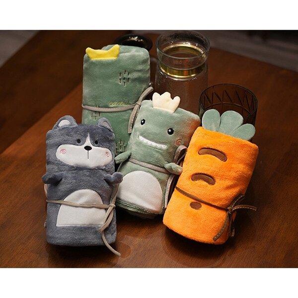 รูปภาพสินค้า ตุ๊กตาลายสัตว์ผ้าห่มนาโน แบบพกพา คละลาย มี 3 แบบ